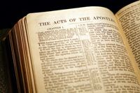 Photo of Bible open to The Acts of the Apostles, written by Luke